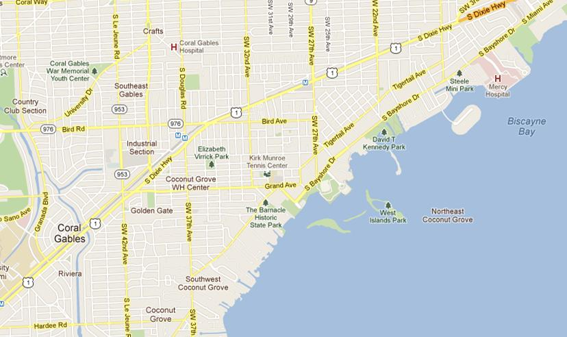 Coconut Grove Florida Map.Grove Coconut Florida Map