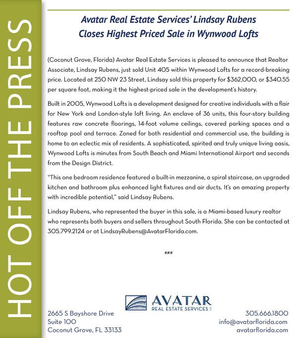 LSR press release - Wynwood Lofts #405